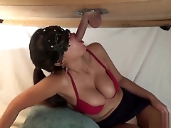 Hot Asian chicks taking dicks from gloryhole.